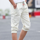Men's Flax Cotton Blend Solid Casual Knee Length Shorts Trousers Plus Size C899