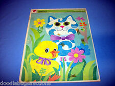 RARE!! Vintage 1970 Whitman SPRING FRIENDS Frame-Tray CAT DUCK Puzzle