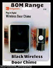 PLUG IN BLACK DIGITAL WIRELESS DOOR BELL CHIME PUSH CORDLESS FRONT BACK DIGITAL