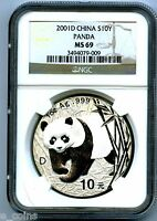 2001 D 1 OZ SILVER CHINA PANDA 10 YN NGC MS69 PROOF LIKE .999 FINE S10Y CHINESE
