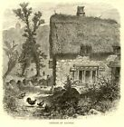 Radway cottage, Warwickshire, antique engraving