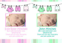 New Baby Girl Boy Birth Announcement Thank You Cards