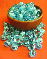 NEW 50 SKY BLUE SWIRL 16mm GLASS MARBLES. TRADITIONAL GAME, COLLECTOR'S ITEM HOM