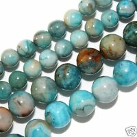 "BLUE CRAZY LACE AGATE BEADS 4MM ROUND BEAD 16"" STRANDS"