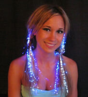 LOT of 5 Fiber Optic Hair Lights extension sparkles glow Pick from 11 colors
