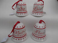 Red christmas tree decoration - Ceramic set of 4 bell ornaments