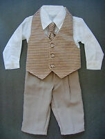 BABY BOY OUTFIT, SUIT, OUTFIT, Golden Brown, Wedding, Christening, Ages 0-3 Yrs