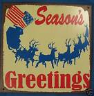 SEASON'S GREETINGS METAL SIGN SANTA REINDEER CHRISTMAS