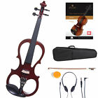 CECILIO 4/4 Electric Violin Ebony Fitted ~ Red Style1
