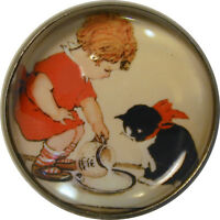 """1"""" Crystal Low Dome Button of Girl & Cat with Cream FREE US SHIPPING"""