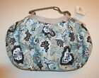 Queenspark Handbag Hobo Style Floral blues Canvas Purse large NWT
