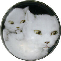 """1"""" Crystal Low Dome Button White Cat & Kitten  C 45"""
