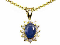 1.14ct Sapphire & Diamond Necklace in 18K & 14K Yellow Gold