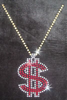 CHAIN NECKLACE DOLLAR IRON-ON CRYSTAL TSHIRT TRANSFER