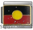 ABORIGINAL LICENCED FLAG Enamel Italian Charm 9mm- 1x PC243 Single Bracelet Link