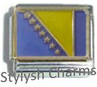 BOSNIA HERZEGOVINA FLAG Ceramic Italian Charm 9mm- 1x PQ005 Single Bracelet Link