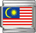 MALAYSIA MALAYSIAN FLAG Photo Italian Charm 9mm - 1 x PC109 Single Bracelet Link