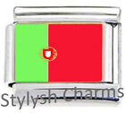 PORTUGAL PORTUGUESE FLAG Enamel Italian Charm 9mm- 1x PE029 Single Bracelet Link