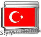 TURKEY TURKISH TURK FLAG Photo Italian Charm 9mm - 1x PC180 Single Bracelet Link