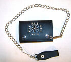 STUDDED LEATHER IRON CROSS TRIFOLD WALLET W CHAIN mens new tri fold wallets