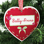 Personalised Name Christmas Wooden Heart Xmas Tree Decoration Gift Idea P101144