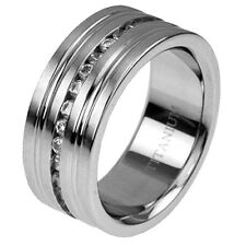 9.5mm Men's Wedding Band Titanium Satin Top Cubic Zirconia Eternity Ring