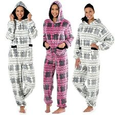 Ladies Maya Nordic Fairisle Hooded Onesie Fleece Pyjama Sleepsuit Sizes 10-20