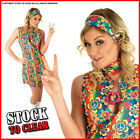 Fancy Dress Costume UV FLORAL HIPPIE 60s 70s 8/10/12/14/16/18/20/22/24