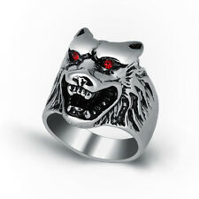 316L Stainless Steel Fashion Silver Men Wolf Head Biker Ring Jewelry Size 8-13