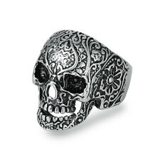 316L Stainless Steel Fashion Men Punk Floral Skull Biker Ring Jewelry Size 8-14