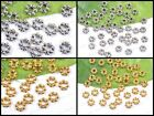 100Pcs Tibetan SILVER & GOLD Flower Daisy Charms Spacers BEADS Findings 6X2MM
