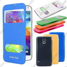 Accessoire Housse Coque Etui S-View Flip Cover Samsung Galaxy S5 G900F +Film