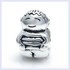 .925 STR Silver CUTE BABY Little BOY KID Smiling Bead f/ European Charm Bracelet