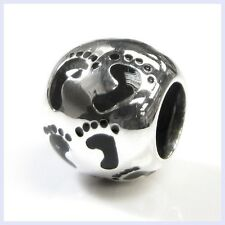STR Silver Baby Footprint Round Family Mom Dad Bead for European Charm Bracelet