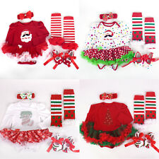 4PCS Kid Baby Infant Girls Christmas Party Romper Tutu Dress Outfits Photo Prop