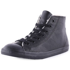 Converse Chuck Taylor All Star Dainty Womens Leather Black Trainers New