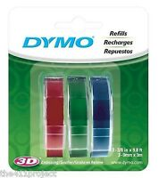 """3PK Roll Dymo 3/8"""" Glossy Labels Embossing Refill Tapes (Red, Green & Blue) *9mm"""