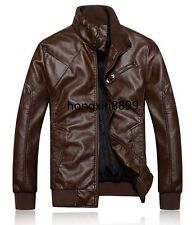 Hot Men's Short Slim thick collar embossed motorcycle leather jacket coat