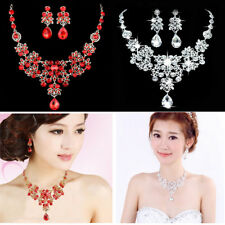 Bridal Wedding Party Jewelry Sets Crystal Rhinestone Pendant Necklace & Earrings