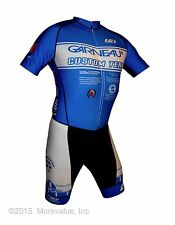 new Louis Garneau Elite men's cycling skinsuit airgel chamois wide band made USA