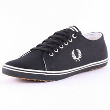 Fred Perry Kingston B6259 Mens Canvas Black Trainers New Shoes All Sizes