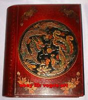 12.5 cmx 19.5cm, Chinese old  leather Wooden Dragon Phoenix Book Box