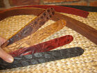 HEAVY EMBOSSED 3.6mm FIRM LEATHER BELT BLANK - BLACK & RED