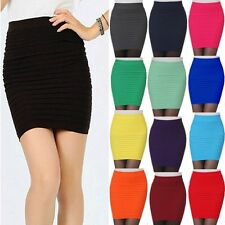 Women Sexy A-Line Mini Skirt Pleated Seamless Stretch Tight Fitted Bodycon Dress