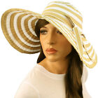 "50+ UPF Beach Summer Stripe Shapeable Wire Wide 5"" Brim Floppy Sun Hat Cap Khaki"