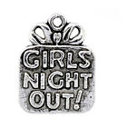 "Free Shipping 20 Pcs Silver Tone ""Girls Night Out!"" Charm Pendants 22x17mm"