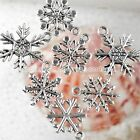 30pc Mixed Various Snowflake Charms Beads Fit Pendant Findings Jewelry Making