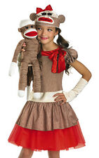 Kids Sock Monkey Dress Outfit Girls Halloween Costume