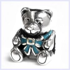 Sterling Silver Enamel Blue Teddy Bear Screw-on Bead f/ European Charm Bracelets