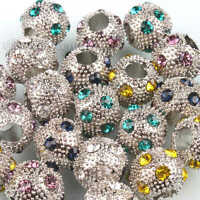 10x Hot Sale Charms Jewelry Assorted Rhinestone Spacer Beads Fit Bracelet DIY LC